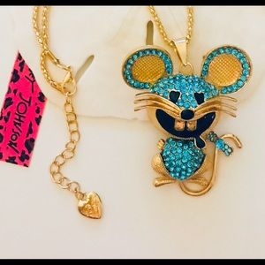 Betsey Johnson Crystal Mouse Pendant Necklace CUTE